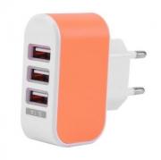 Hleðslutæki 3 x USB í 220v (orange)