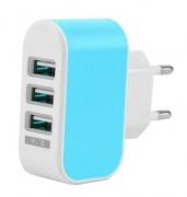 Hleðslutæki 3 x USB í 220v (blátt)